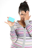 Teenage girl  with credit card. Smiling girl with blue credit card Royalty Free Stock Image