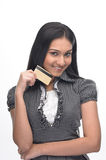 Teenage girl with credit-card Royalty Free Stock Photos