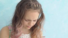 Teenage girl crying at home, close up. Teenage girl crying at home, close up stock video footage