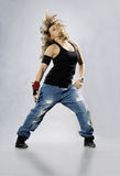 Teenage girl dancing breakdance Stock Photos