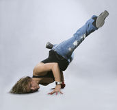 Teenage girl dancing breakdance Stock Image