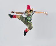 Teenage girl dancing breakdance Stock Photography