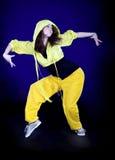 Teenage girl dancing in the darkness Stock Image