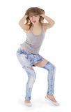 Teenage girl dancing hip-hop Stock Photo