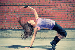 Teenage girl dancing hip-hop Stock Photography