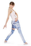 Teenage girl dancing hip-hop over white Royalty Free Stock Photos