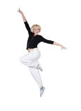 Teenage girl dancing hip-hop over white Stock Images