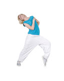 Teenage girl dancing hip-hop over white Royalty Free Stock Photos