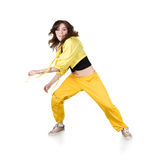 Teenage girl dancing hip-hop over white Royalty Free Stock Photo