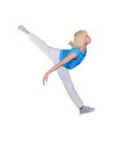 Teenage girl dancing hip-hop over white Stock Photos