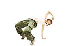 Teenage girl dancing hip-hop studio series Royalty Free Stock Photography