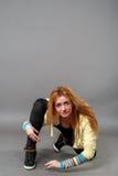 Teenage girl dancing hip-hop studio series Stock Photography