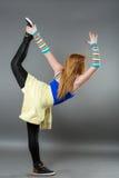 Teenage girl dancing hip-hop studio series Stock Photos