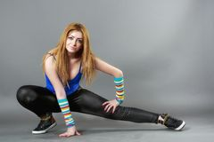 Teenage girl dancing hip-hop studio series Royalty Free Stock Image