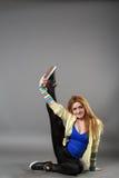 Teenage girl dancing hip-hop studio series Stock Photo