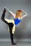 Teenage girl dancing hip-hop studio series Royalty Free Stock Photos