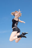 Teenage girl is dancing outdoors Royalty Free Stock Photos