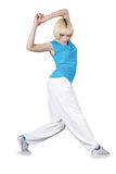 Teenage girl dancing over white Royalty Free Stock Photo