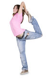 Teenage girl dancing over white Stock Photography