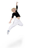 Teenage girl dancing over white Royalty Free Stock Photo