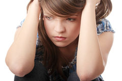 Teenage girl depression Stock Photos