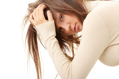Teenage girl depression - lost love. Isolated on white background royalty free stock image
