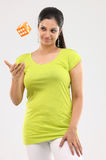 Teenage girl with the dice Royalty Free Stock Image