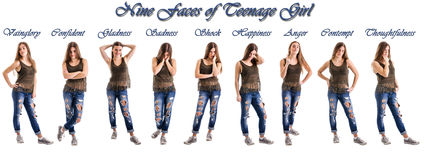 Teenage girl different humor Stock Images
