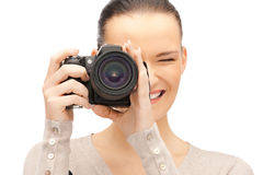 Teenage girl with digital camera Stock Photos