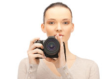 Teenage girl with digital camera Royalty Free Stock Images