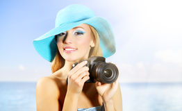 Teenage girl with digital camera Royalty Free Stock Photo