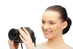 Teenage girl with digital camera Royalty Free Stock Photography
