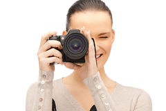 Teenage girl with digital camera Royalty Free Stock Photos