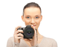 Teenage girl with digital camera Stock Images