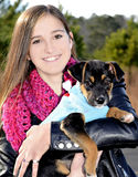 Teenage Girl and Dog Royalty Free Stock Photo