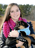 Teenage Girl and Dog Stock Photo