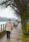 Teenage girl with dog and old man walking Stock Image