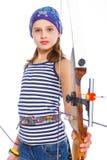 Teenage Girl Doing Archery Royalty Free Stock Photos