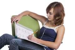 Teenage girl doing her homework Royalty Free Stock Image