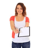 Teenage girl doing survey Stock Photography
