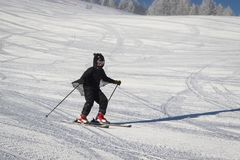 Teenage girl dressed in a bat costume enjoying downhill skiing on a freshly groomed ski slope. Beautiful sunny day with trees royalty free stock photography