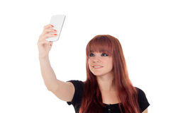 Teenage girl dressed in black getting a photo with the mobile Royalty Free Stock Images