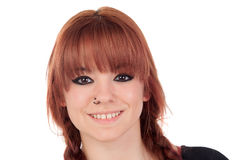 Teenage girl dressed in black with a piercing Royalty Free Stock Photo