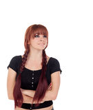 Teenage girl dressed in black with a piercing Stock Photography