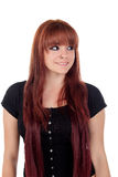 Teenage girl dressed in black with a piercing looking at side Stock Photos