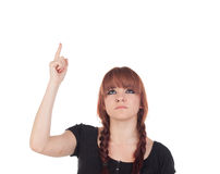 Teenage girl dressed in black with a piercing looking up Royalty Free Stock Photos