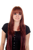 Teenage girl dressed in black with a piercing looking up Royalty Free Stock Images