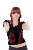 Teenage girl dressed in black with a piercing saying Ok Royalty Free Stock Image
