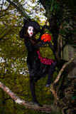 Teenage girl dressed in witch costume sitting on the tree Stock Photos