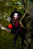 Teenage girl dressed in witch costume sitting on the tree Royalty Free Stock Photography